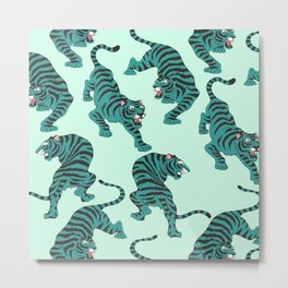 Teal Tigers Metal Print
