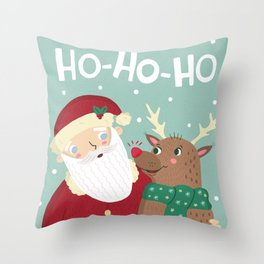 Santa and Rudolph Throw Pillow
