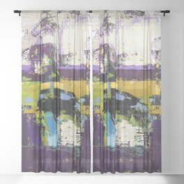 Controversy Prince Deep Purple Abstract Painting Modern Art Sheer Curtain