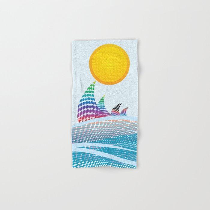 Sun and sea in CMYK Hand & Bath Towel