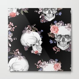 Day Of The Dead Floral Skulls Metal Print