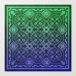 Pixel Patterns Blue Green Canvas Print