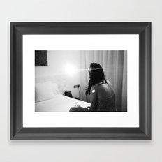 night-time hotel room portrait Framed Art Print