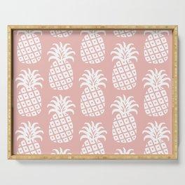 Retro Mid Century Modern Pineapple Pattern Dusty Rose 2 Serving Tray