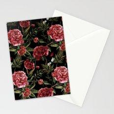Black Vintage Peony Garden Stationery Cards
