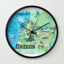 USA Oregon State Travel Poster Illustrated Art Map Wall Clock