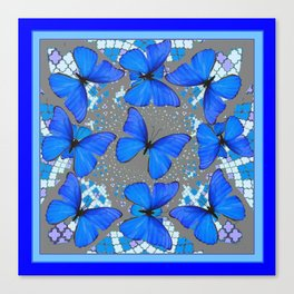 Decorative Blue Shades Butterfly Grey Pattern Art Canvas Print