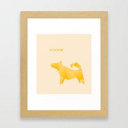 Let's Go Outside - Origami Yellow Dog Framed Art Print
