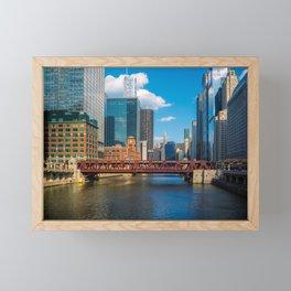 View of Chicago River Skyline Wells Street Bridge Windy City Framed Mini Art Print
