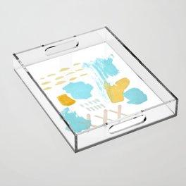 Summer blue yellow abstract Acrylic Tray