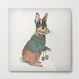 Winter Rabbit Metal Print