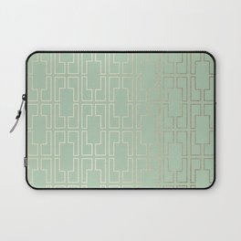 Simply Mid-Century in White Gold Sands and Pastel Cactus Green Laptop Sleeve
