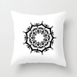 Mandala: hand-drawn Throw Pillow