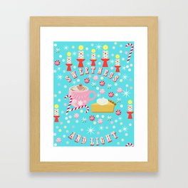 Holiday Candy, gingerbread, coffee, hot chocolate, pie and candles, Christmas, hygge Framed Art Print