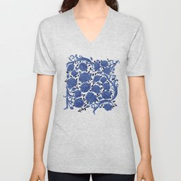 Cobalt blue flowers Unisex V-Neck