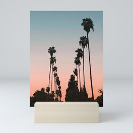 California Sunset // Palm Tree Silhouette Street View Orange and Blue Color Sky Beach Photography Mini Art Print