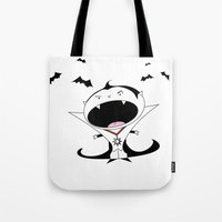 dracula Tote Bags featuring Dracula by Primal Dream