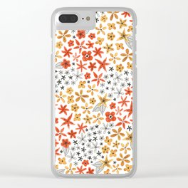 tiny tiny red gold and black flowers Clear iPhone Case