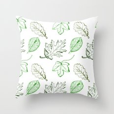 Leaves (greens) Throw Pillow
