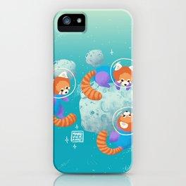 Red Space Pandas Blue Skies iPhone Case