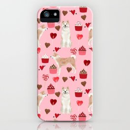 Akita valentines day cupcakes dog breed hearts pet portrait akitas pet friendly iPhone Case