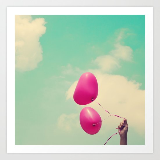Free Love, Pink Heart Baloons on Retro Green Sky  Art Print