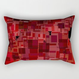 Red and Black Square Patchwork Overlay Rectangular Pillow