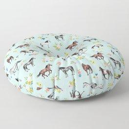 Horses and Small Flowers, Mint Blue, Horse Decor, Floral Print, Horse Art Floor Pillow