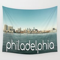 philadelphia Wall Tapestries featuring Philadelphia  by redcoatstudiocolor