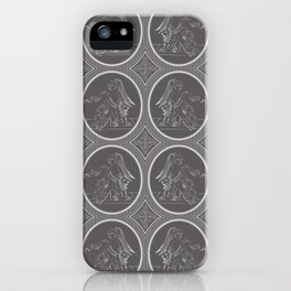 Grisaille Charcoal Grey Neo-Classical Ovals iPhone Case