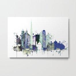 Dubai skyline in blue Metal Print