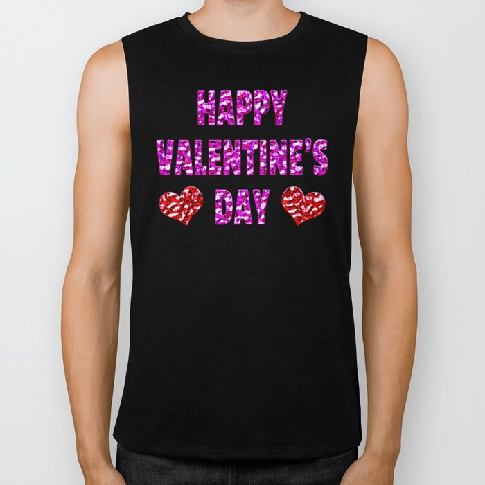 Happy Valentine's Day Metal Pink and Red Letters Biker Tank