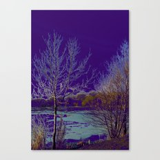Frozen Lake and Purple Sky Canvas Print