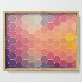 COLORFUL RETRO HEXAGONS HONEYCOMB Serving Tray