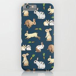 Rabbits on navy background iPhone Case