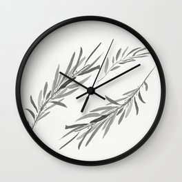 Eucalyptus leaves black and white Wall Clock