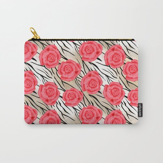 Red roses on a light tiger background . Carry-All Pouch