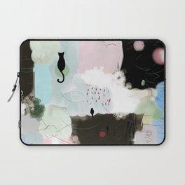 Peinture tons pastels chat oiseau bulles abstrait moderne Laptop Sleeve