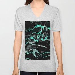 Teal & black marble Unisex V-Neck
