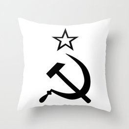 Hammer and Sickle Black and White Throw Pillow