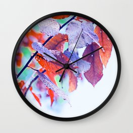 Raindrops on Autumn Leavs Wall Clock