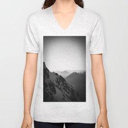 Mountain Side Black and White Photo Europe Nature Unisex V-Neck