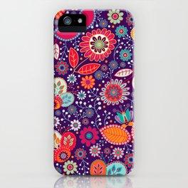 Colorful khokhloma flowers pattern iPhone Case