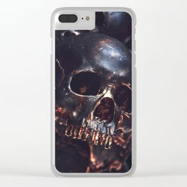 Black Gold Skull Clear iPhone Case