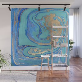 marble stone turquoise and gold Wall Mural