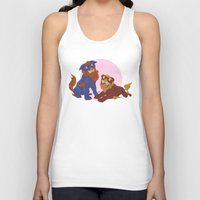 pit bull Tank Tops featuring Pit Bull Shisa Guardians by AlliePets