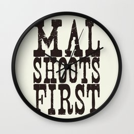 Mal Shoots First Wall Clock