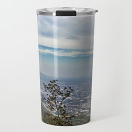 View of the valley from the Regional Park of Monti Lattari, Pompeii and Mount Vesuvius Travel Mug