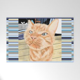 Oliver the Sniffy Red Tabby Cat Welcome Mat