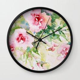Cascading Flowers -Landscape- Watercolors Wall Clock